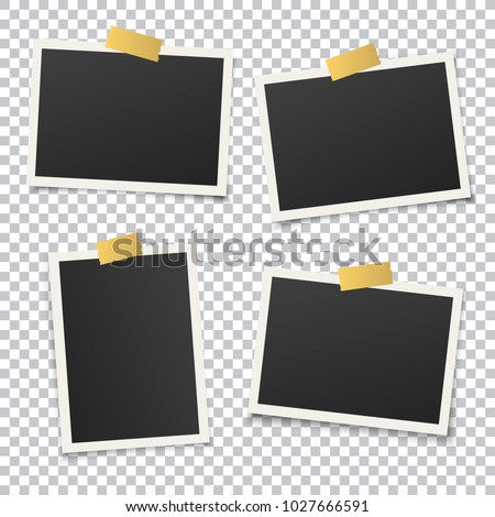 Set of vintage photo frame with golden adhesive tape. Vintage style. Vector illustration with gold adhesive tapes. Photorealistic vector EPS10 mockups. Retro photo frame template for your photos. #1027666591