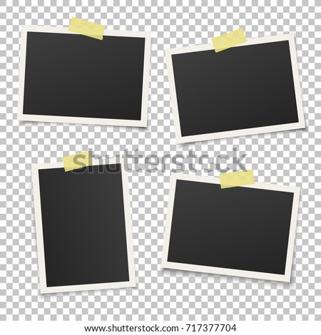 Set of vintage photo frames with yellow adhesive tape. Realistic, EPS10 vector photo frame template for your photos.