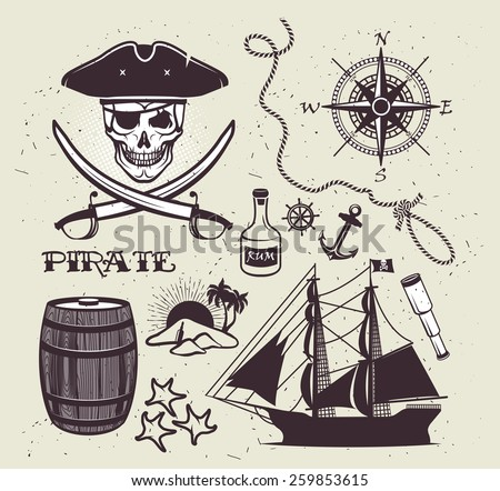 set of vintage pirate elements