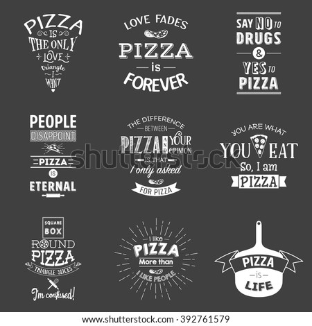 set of vintage pizza