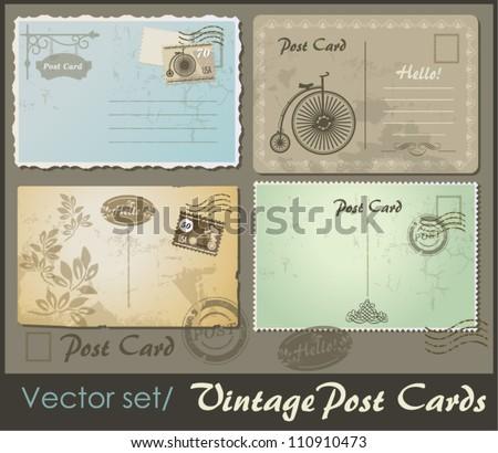 set of 4 vintage postcard designs and postage stamps
