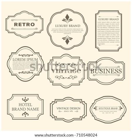 Set of 9 Vintage Poster. Black Sample Text on White Vintage Background.