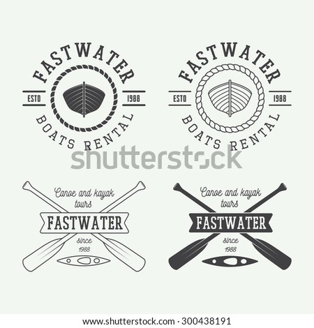 set of vintage rafting logo ...