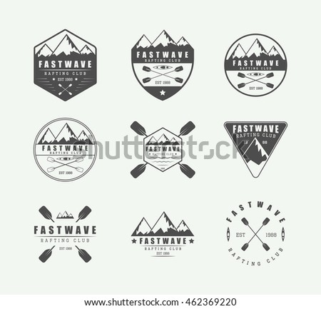 set of vintage rafting logo ...