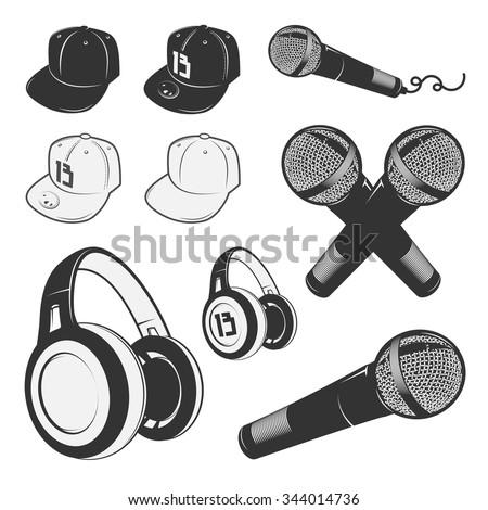 Set of vintage rap emblems and design elements. Monochrome style. Hip hop.