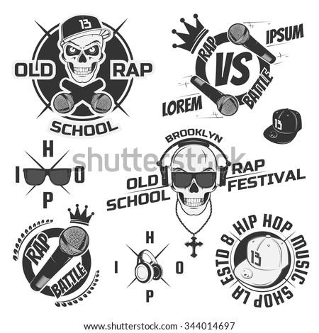 Set of vintage rap emblems, labels and design elements. Monochrome style.