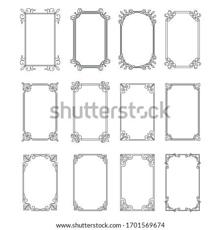 Set of vintage rectangular ornate ornaments. Retro decorative frames. Wedding frames. Vector illustration.