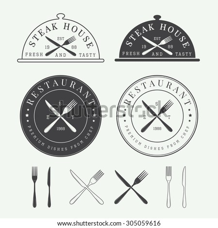 set of vintage restaurant logo