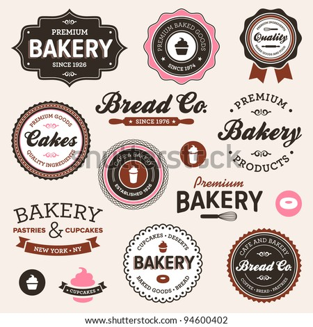 Set of vintage retro bakery logo badges and labels