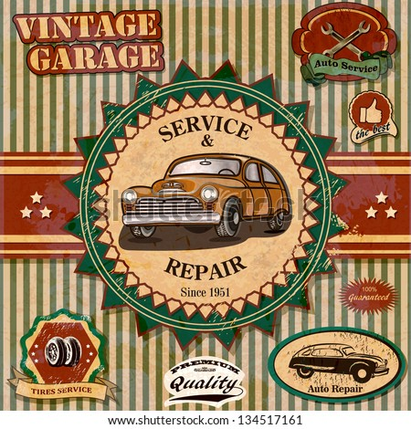 Set of vintage retro car labels