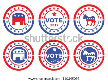 Set of vintage retro 2012 election Stamp, Badges and labels showing Republic Party, Democratic Party and Vote Symbols.
