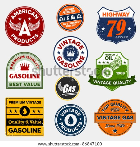 set of vintage retro gasoline