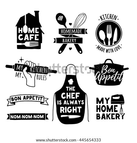 Set of vintage retro handmade badges, labels and logo elements, retro symbols for bakery shop, cooking club, cafe, food studio or home cooking. Template logo with silhouette cutlery. Vector.