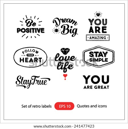 Set of vintage retro labels.Quotes and icons. Elements for design.