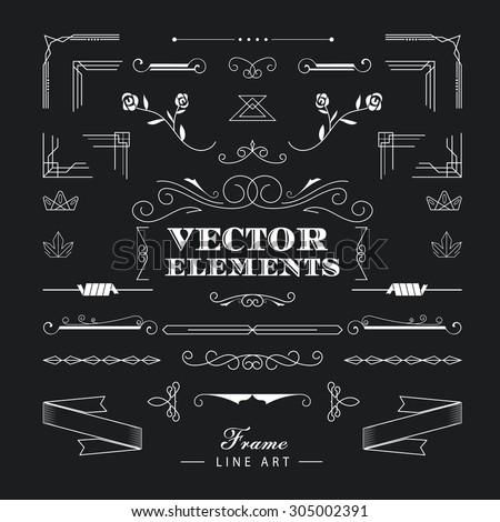 Set of vintage retro linear thin line art deco design elements geometric shape with frame corner badge #305002391