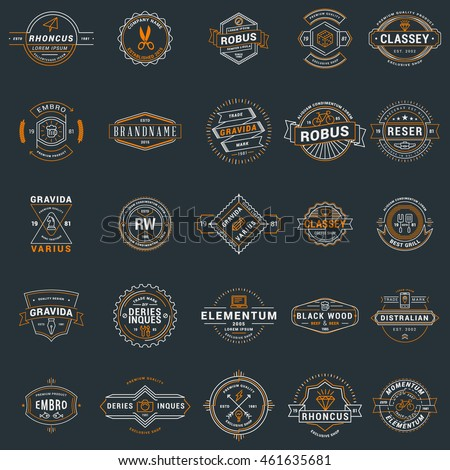 Set of vintage retro logotype templates. Collection of 25 items. Vector logo design elements. Icon symbols. Labels. Badges. White and orange colors on dark background