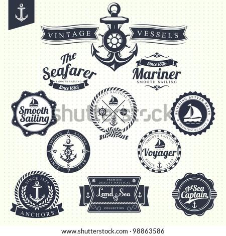 set of vintage retro nautical