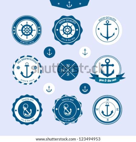 Set of vintage retro nautical labels