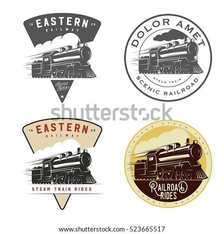 set of vintage retro railroad
