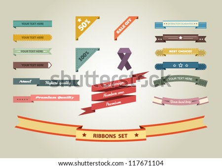Set of vintage retro style ribbons and labels. Flat design - stock vector