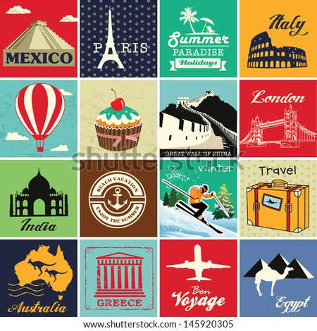 set of vintage retro vacation...