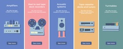 Set of vintage retro various Hi-Fi stereo audio systems. Turntable. Amplifiers. Acoustic system. Reel to reel tape recorder. AM FM stereo tuner. Tape cassette deck. Flat vector illustration Isolated.