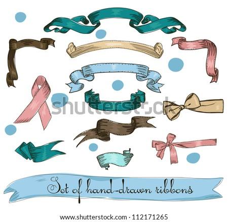 Set of vintage ribbons. Vector illustration EPS8