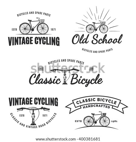 Set of vintage road bicycle labels, emblems, badges or logos isolated on white background. Handcrafted bicycle repair, service and club design elements. Isolated vintage bicycle side view. Vector.