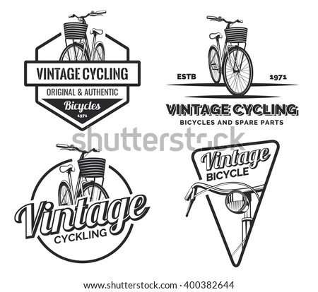 Set of vintage road bicycle labels, emblems, badges or logos isolated on white background. Handcrafted bicycle repair, service and classic design elements. Isolated bicycle isometric view. Vector.