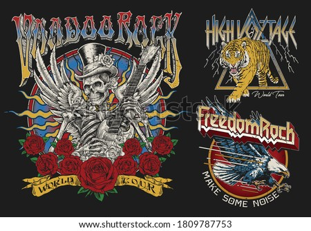 Set of Vintage Rock Concert Style T-shirt Designs.