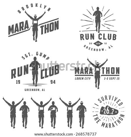 set of vintage run club labels