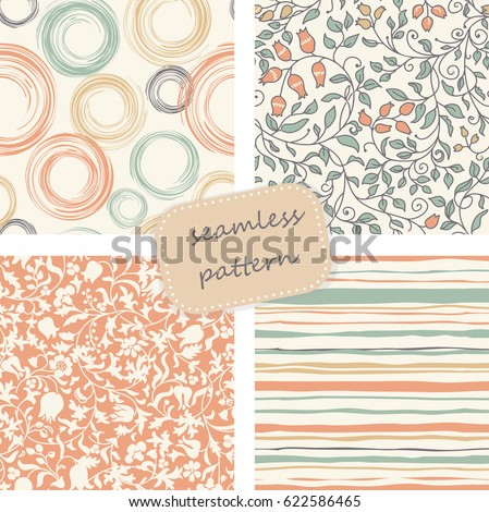 Set of 4 vintage seamless colorful patterns in retro colors. Hand drawn. Vector illustration can be used for ceramic tile, wallpaper, textile, invitation, greeting card, web page background.