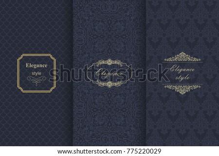 set of vintage seamless damask