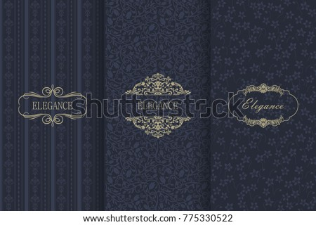set of vintage seamless damask