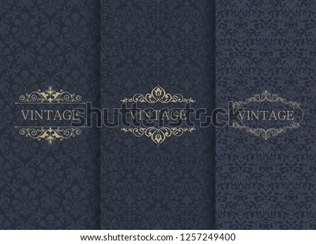 Set of Vintage seamless damask pattern. Template greeting card, invitation and advertising banner, brochure. Collection of design elements, labels, icon, frames for packaging, design of luxury product