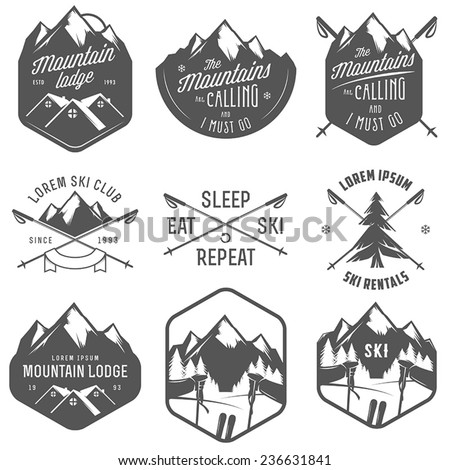 set of vintage skiing labels...