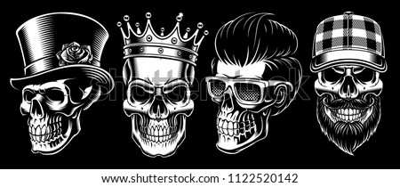 set of vintage skulls on dark