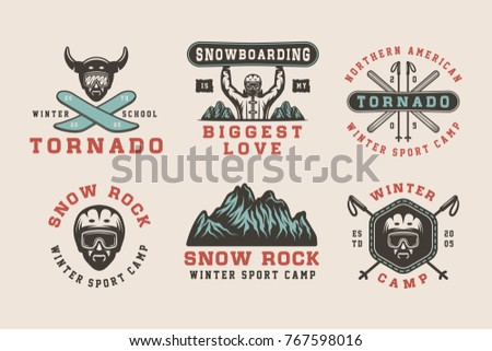 set of vintage snowboarding