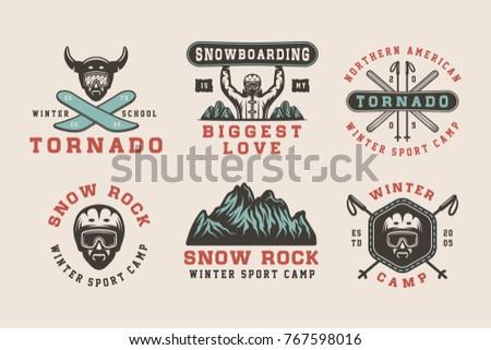 set of vintage snowboarding