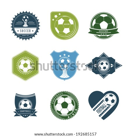 set of vintage soccer labels