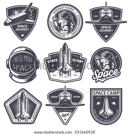 Set of vintage space and astronaut badges, emblems, logos and labels. Monochrome style