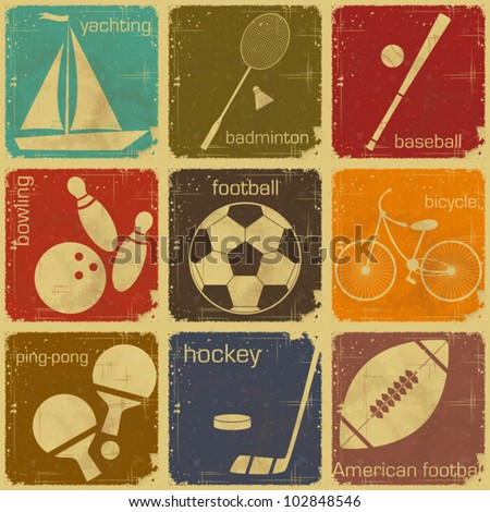 set of Vintage Sport separate  Labels - Retro Signs with Grunge Effect in color - vector illustration