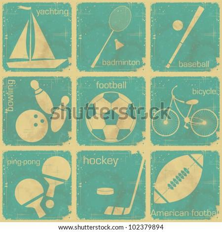 set of Vintage Sport separate  Labels - Retro Signs with Grunge Effect - vector illustration
