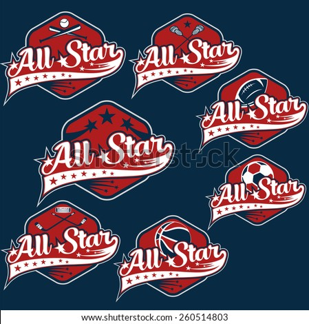set of vintage sports all star