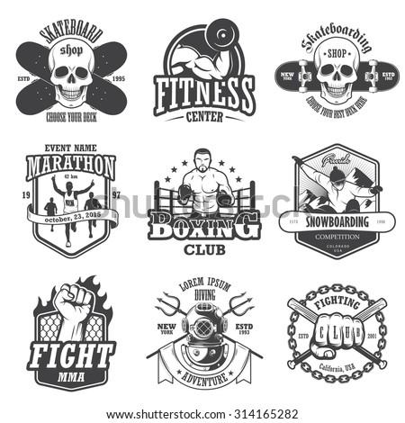 set of vintage sports emblems