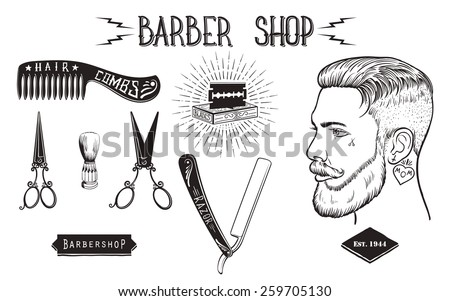 set of vintage style barber...