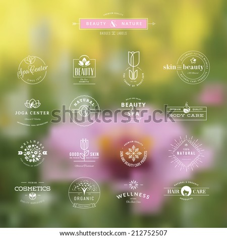 Set of vintage style elements for labels and badges for beauty, health care, cosmetics, spa and wellness, on the nature background