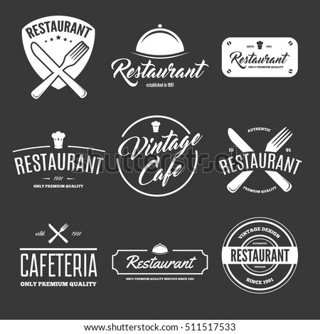 Set of vintage style elements for labels and badges for restaurants in the background