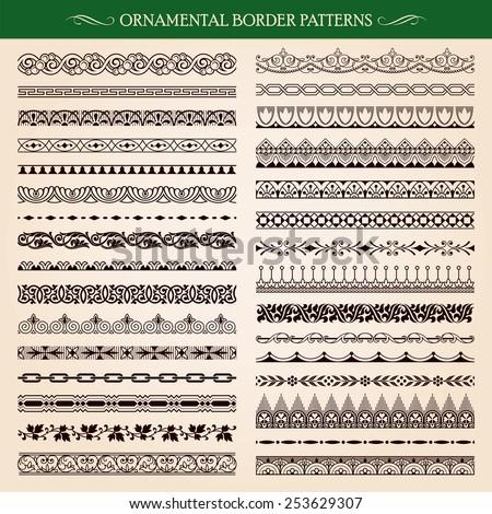 Set of vintage style ornamental border frame patterns vector #253629307