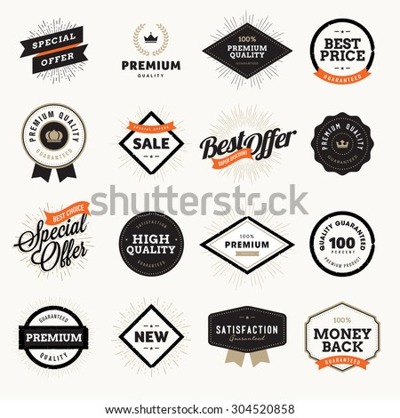 Set of vintage style premium quality badges and labels for designers. Vector illustrations for e-commerce, product promotion, advertising, sell products, discounts, sale, the mark of quality. #304520858